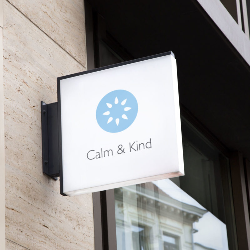 Calm and Kind Brand Identity Sign Mockup