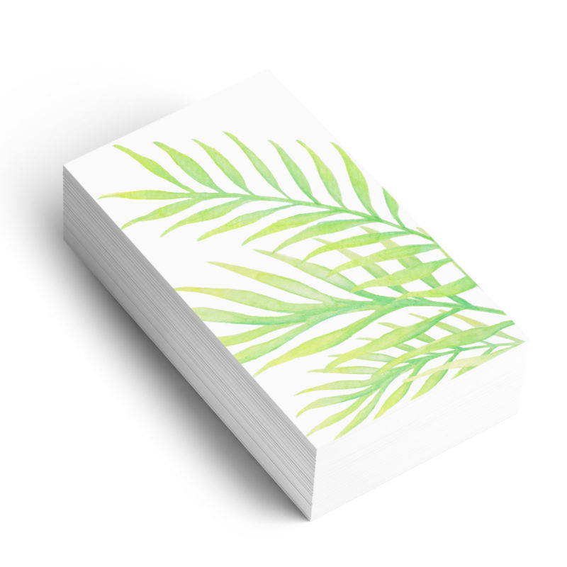 Watercolour palm graphic element on business card
