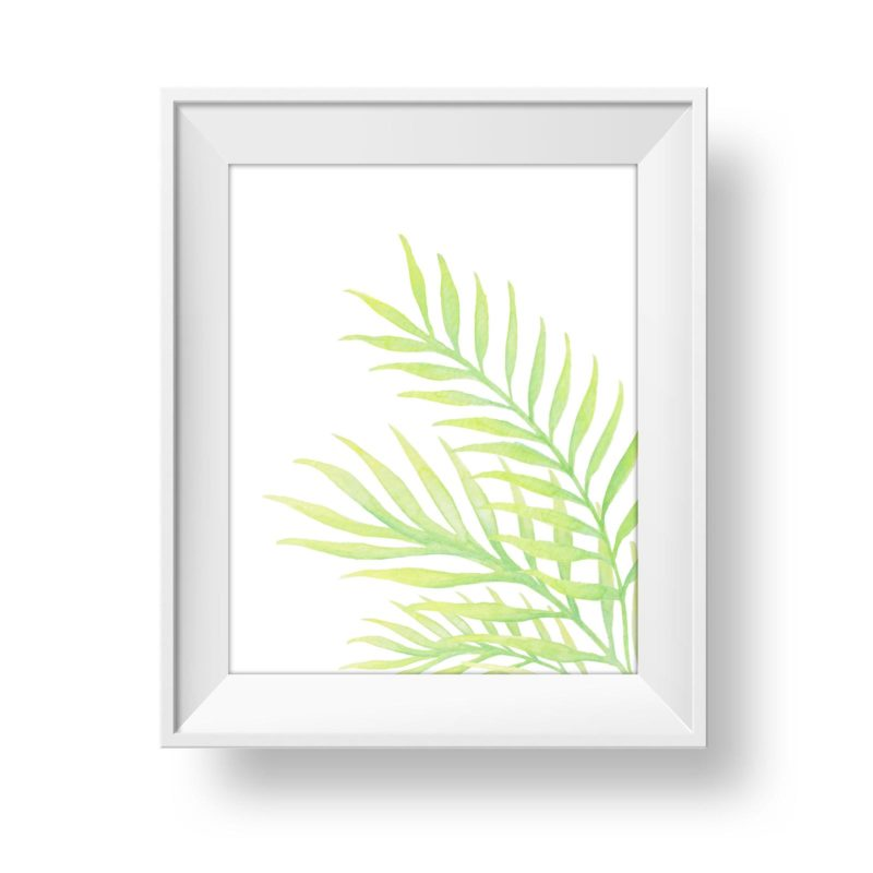 Watercolour palm graphic element for wall art