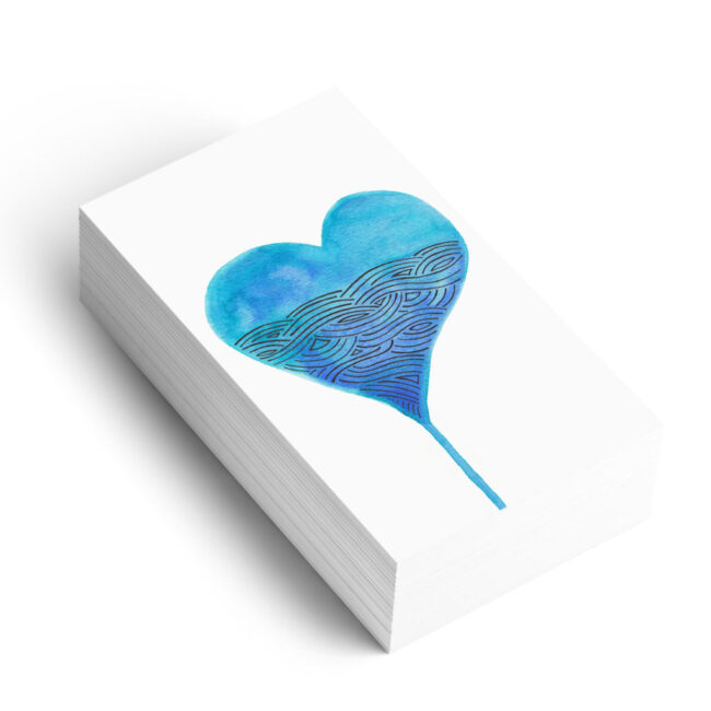Watercolour heart graphic element for branding on business cards