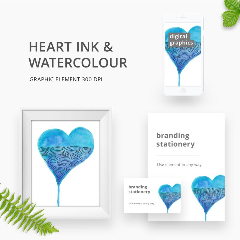 Watercolour heart graphic element for branding