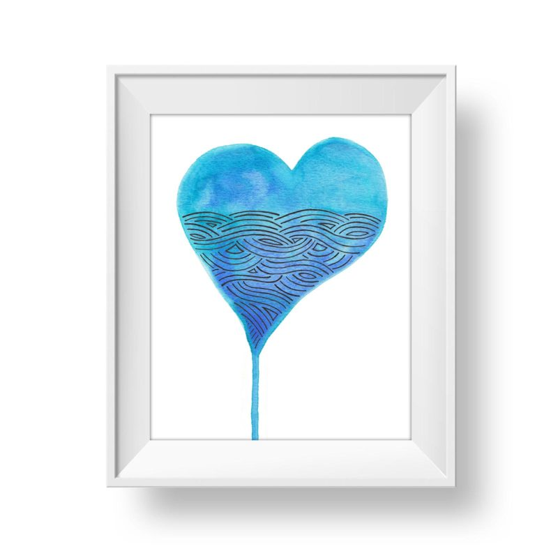 Watercolour heart graphic element for artwork