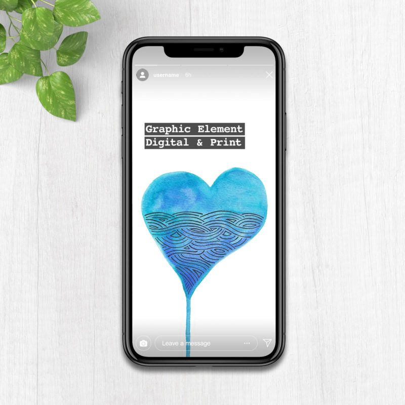 Watercolour heart graphic element for branding on instagram story