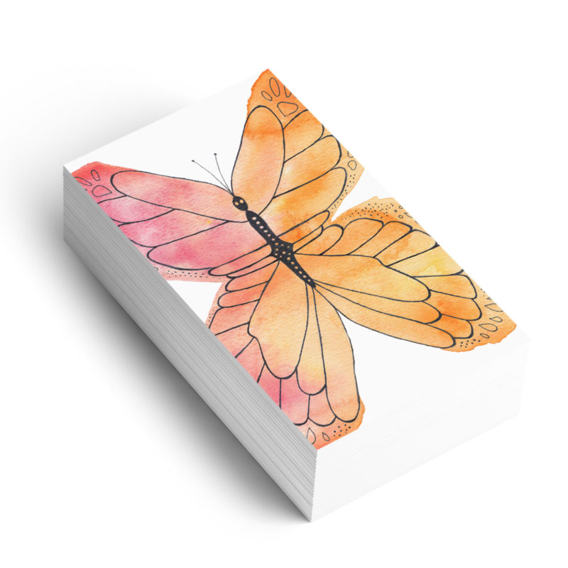 Watercolour butterfly graphic element for branding on business cards