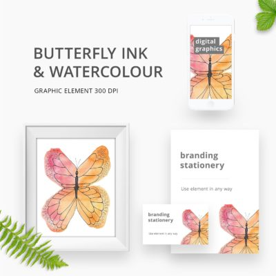 Watercolour butterfly graphic element for branding
