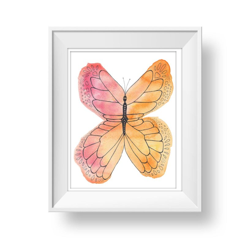 Watercolour butterfly graphic element for wall art