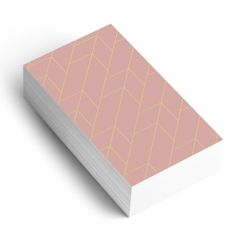 Rose and Gold Line Pattern on business card mockup