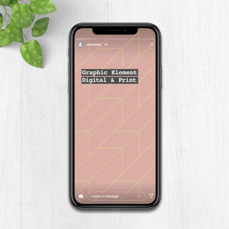 Rose and Gold Line Pattern on instagram mockup