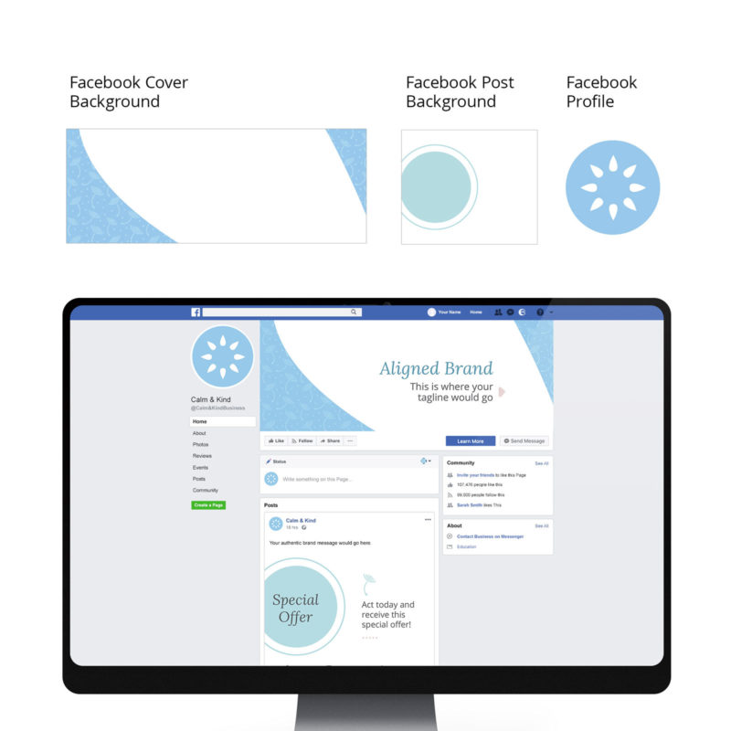 Calm & Kind Brand Visual Identity Facebook mockup